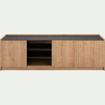 Meuble TV 3 portes en bois - chêne-MADON