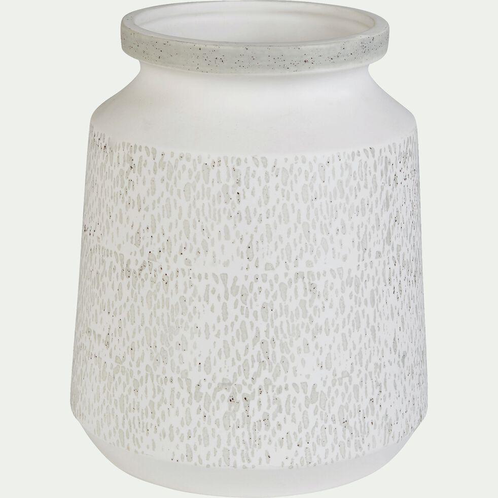 Vase en céramique blanc et gris h23cm-GARDENIA