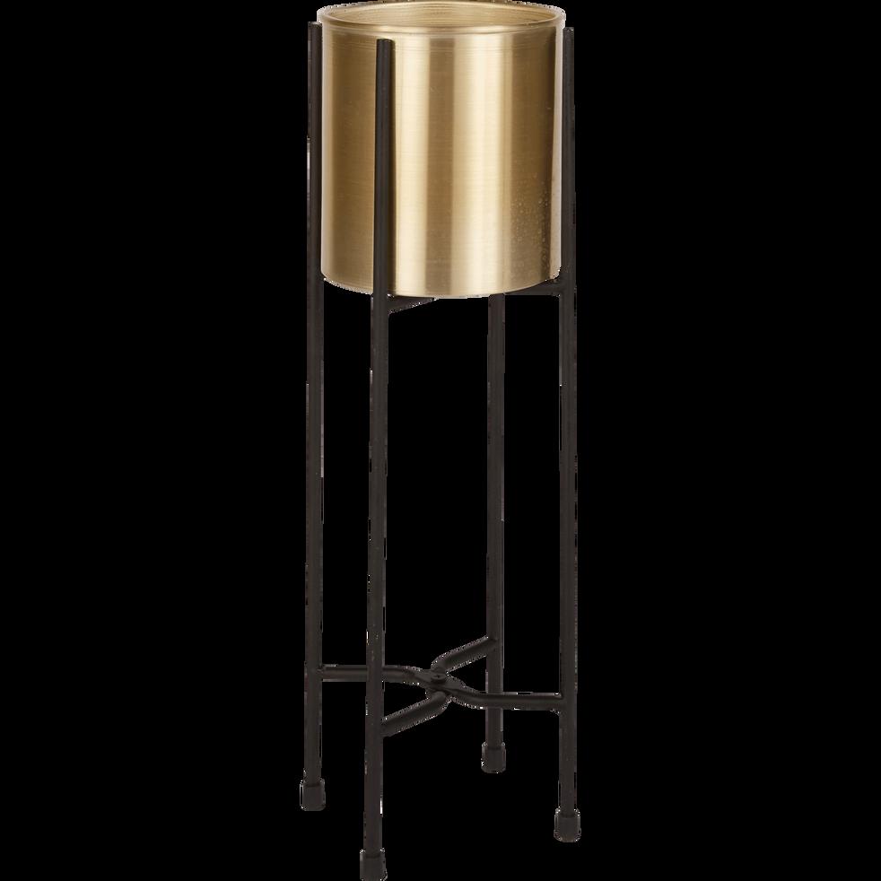Cache-pot  sur pied en métal doré H46cm-LYRA