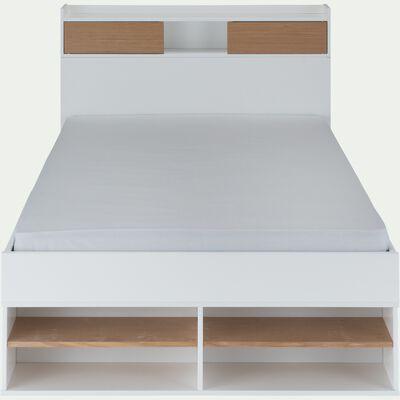 Lit blanc avec multiples rangements 120x200cm-ROC