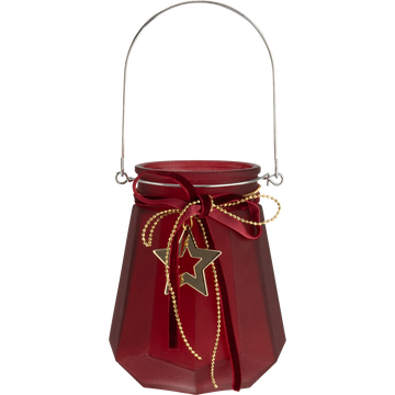 Photophore en verre rouge D11,5x14cm-MYLIO