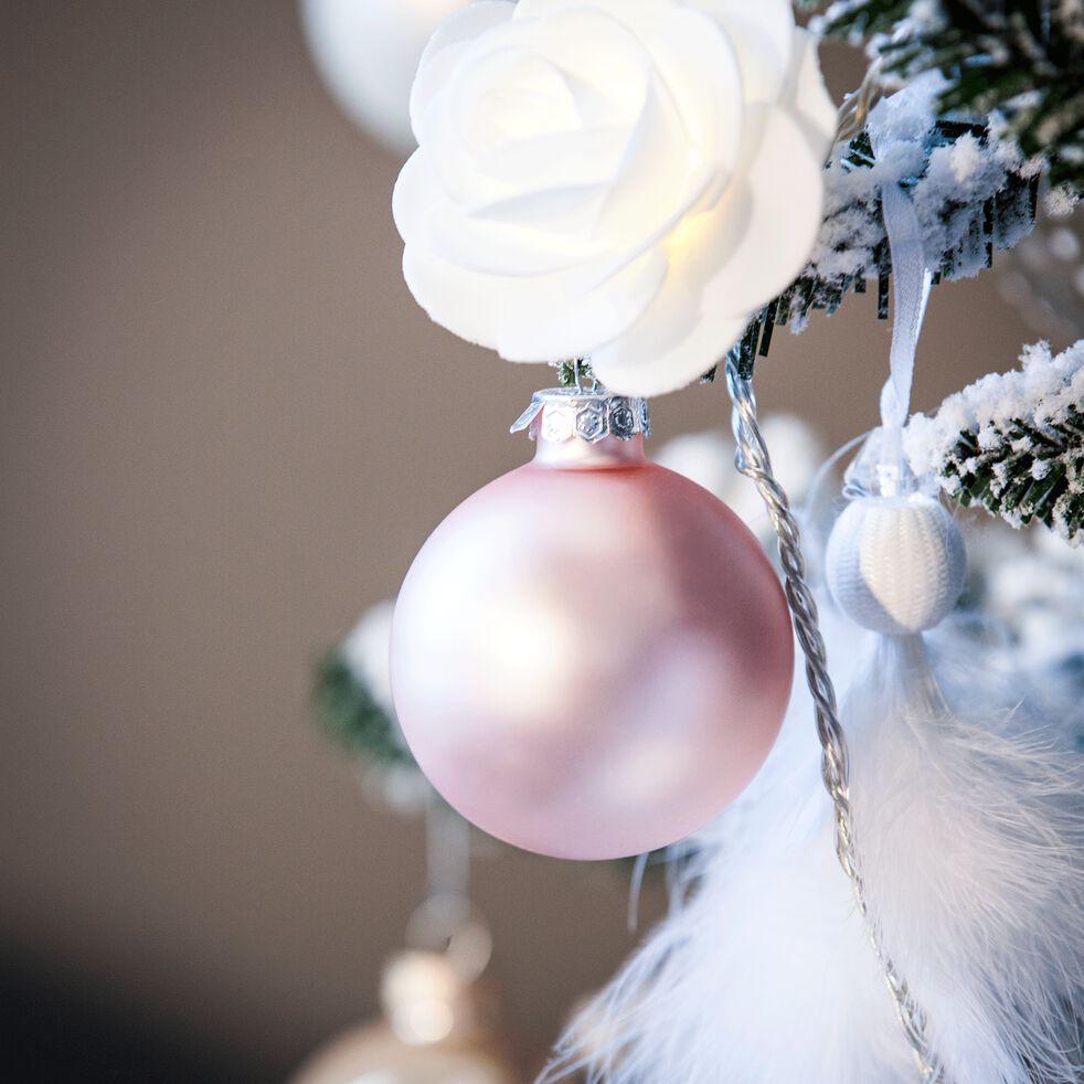 10 boules en verre rose poudre brillant et mat D6cm-EMAIL