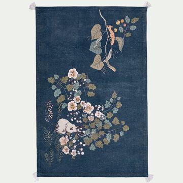 Tapis enfant en coton tissé plat imprimé motif sous bois 120x180cm - multicolore-Bosquet