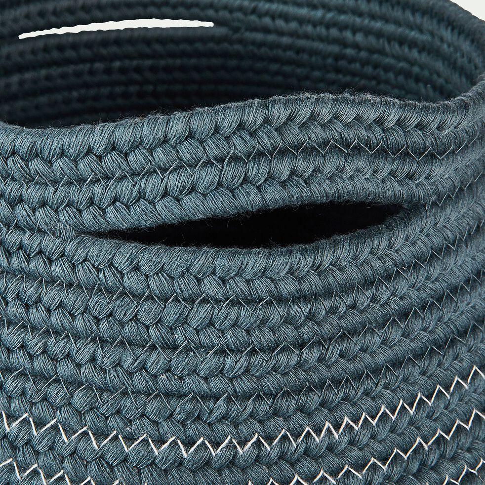 Panier déco en coton bleu D21xH23cm-Willy