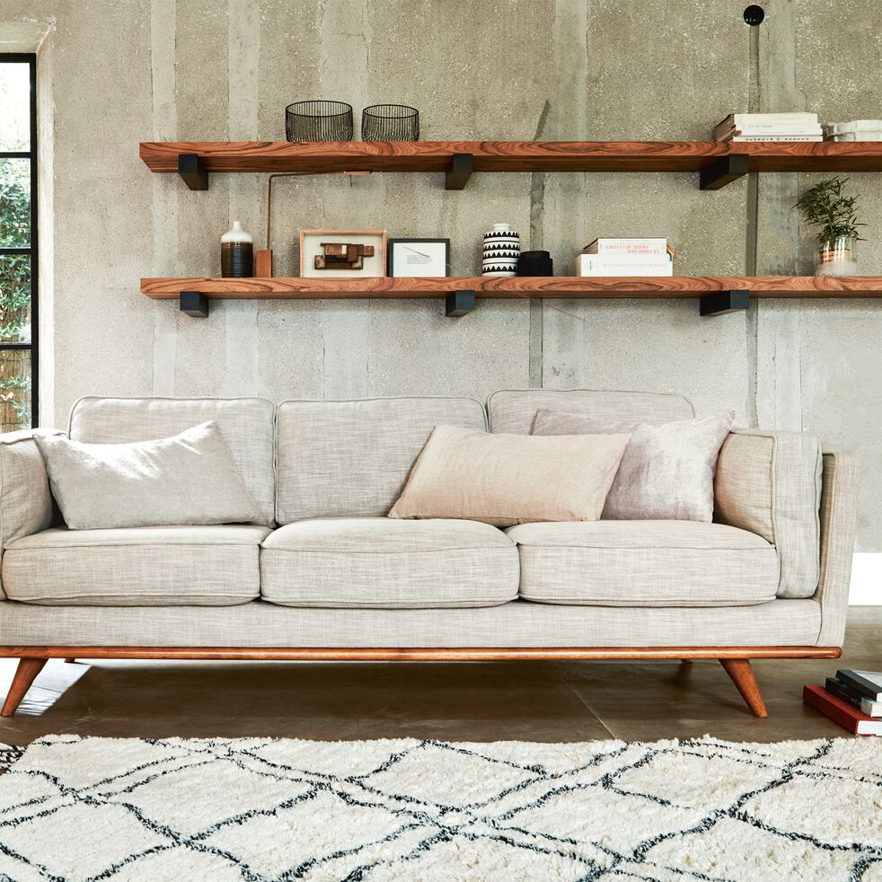 Canapé 3 places fixe en tissu beige-ASTORIA