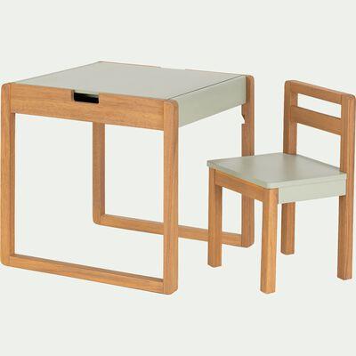 Ensemble de bureau et chaise enfant en acacia- vert olivier-LUDOT