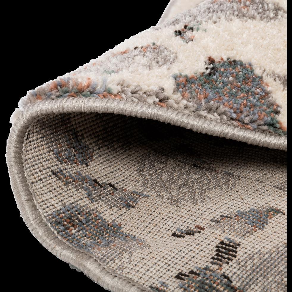 Tapis à poils courts blanc à motifs D160cm-TERRAZZO