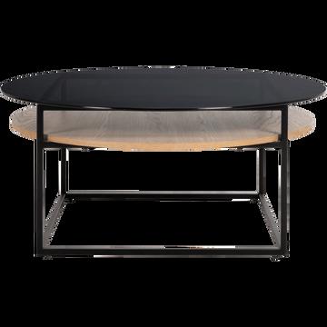 Table basse ronde en verre avec double plateau-EIRO