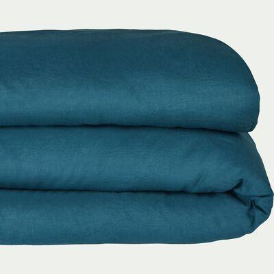 Housse de couette en lin - bleu figuerolles 240x220cm-VENCE