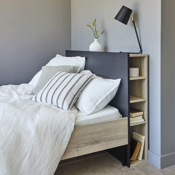Lit 2 places 160x200cm avec tête de lit-finition chêne et métal-CASTEL