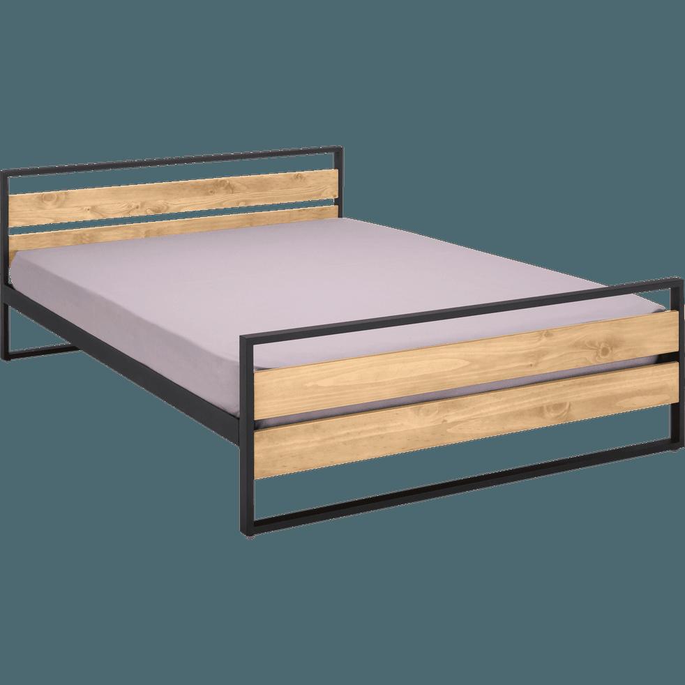 lit 2 places bois et m tal avec t te et pieds de lit. Black Bedroom Furniture Sets. Home Design Ideas