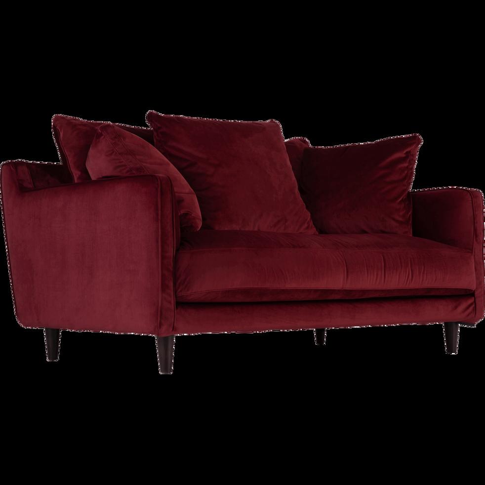 canap 2 places convertible en velours rouge sumac lenita canap s en tissu alinea. Black Bedroom Furniture Sets. Home Design Ideas