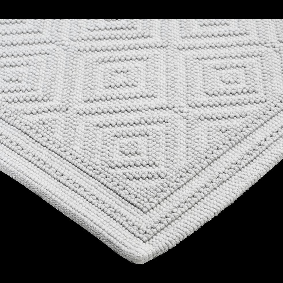 Tapis de bain en coton 60x100cm piquage en losanges gris borie-SADOU