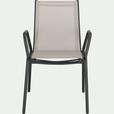 Chaise de jardin avec accoudoirs en aluminium et textilène - gris vésuve-MASCA
