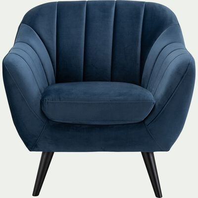 Fauteuil en velours - bleu myrte-SHELL