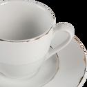 Tasse et sous-tasse en porcelaine blanche et dorée-REINE