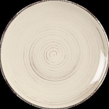 Assiette à dessert en faïence blanche effet patiné D20.5cm-GASTON