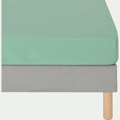 Drap housse en coton lavé - vert menthe 140x200cm B27cm-RIMINI