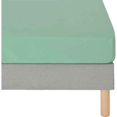Drap housse en coton lavé 140x200cm vert menthe-RIMINI
