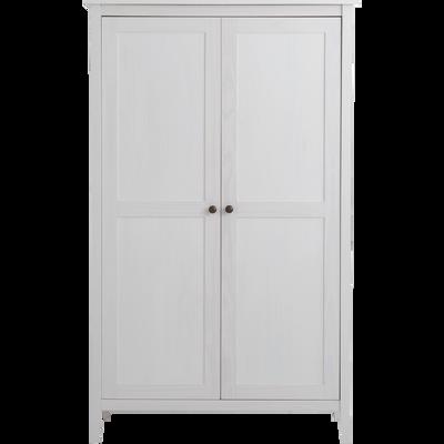 Armoire 2 portes battantes en pin massif Blanc-LISON