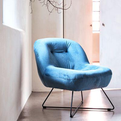 Fauteuil en velours bleu-AURIOL