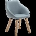 Chaise en tissu bleu grisé avec accoudoirs-NOELIE