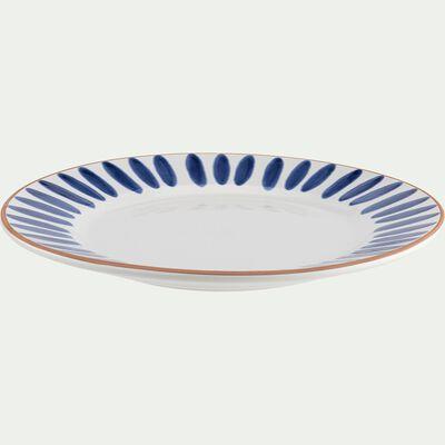 Assiette plate en faïence - bleu D27cm-PORTO