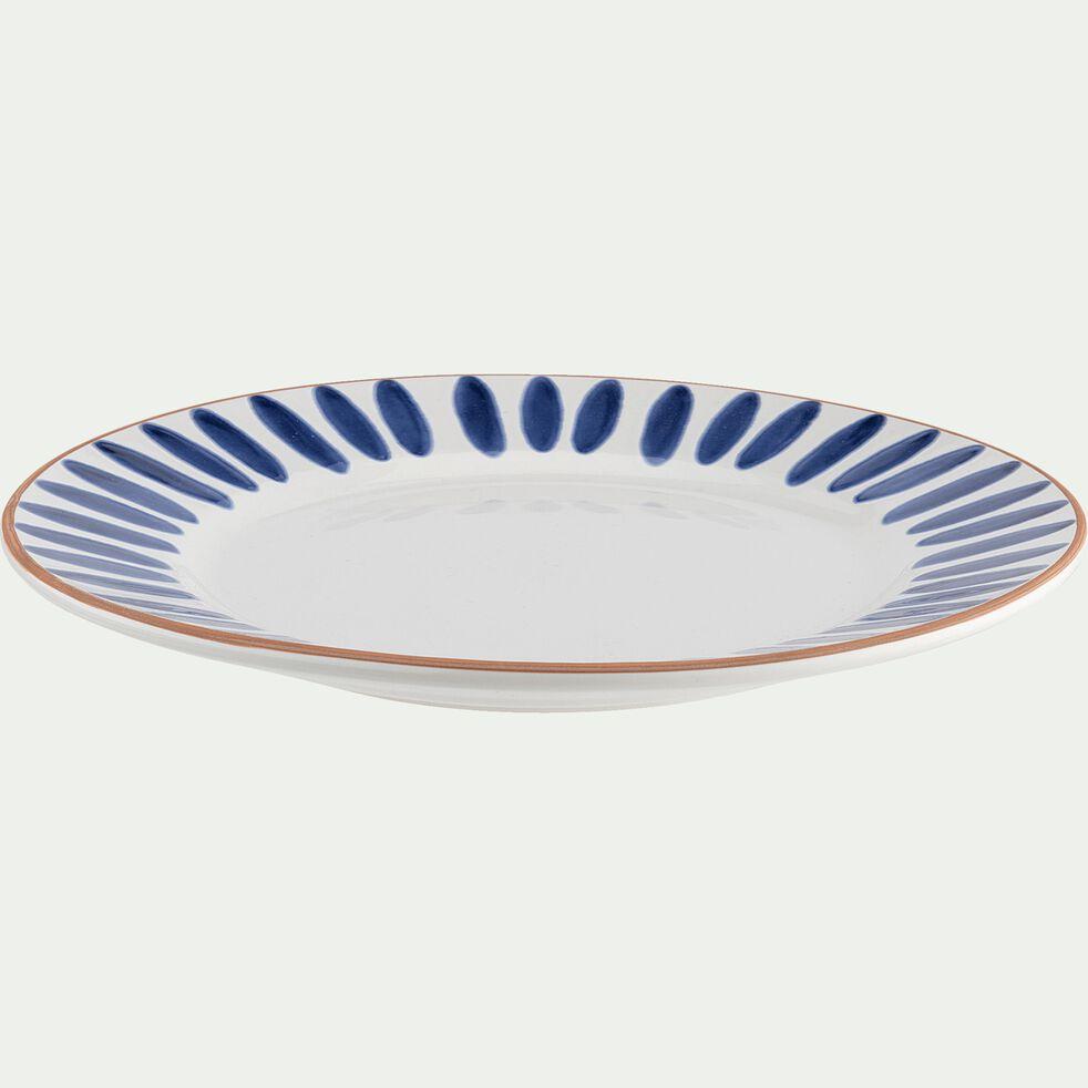 Assiette plate en faïence bleu D27cm-PORTO