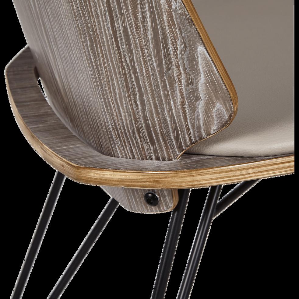 Chaise en simili gris piétement épingle-NAIS