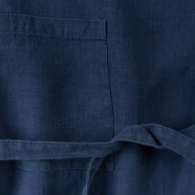Tablier en lin bleu indigo-VERO