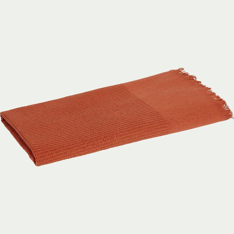 Serviette de toilette en lin et coton - orange brique 50x100cm-ALES