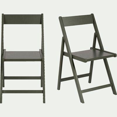 Chaise pliante en bois plaqué vert cèdre-JULIA