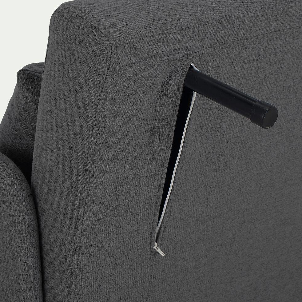 Canapé 2 places convertible en tissu - gris anthracite-CALLAS