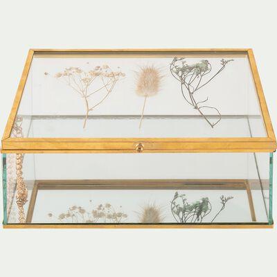 Boîte à bijoux en verre structure en cuivre - doré 14x18cm-PIMA
