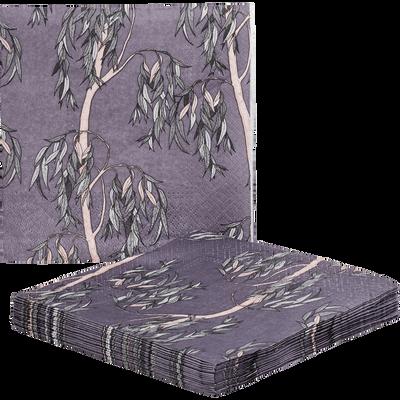 Lot de 20 serviettes en papier violet décoré 33x33cm-SAULE