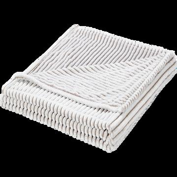 Plaid imitation fourrure blanche à rayures 130x170cm-MAYAS