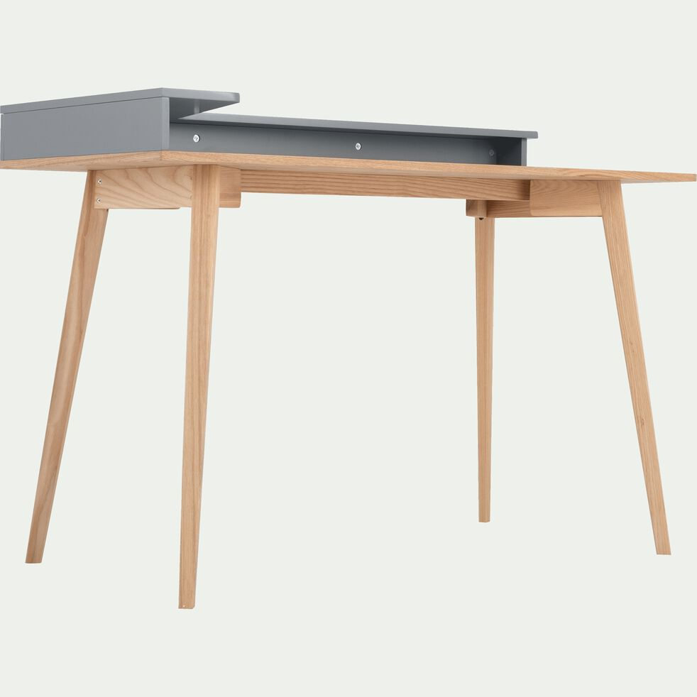 Bureau avec grand plateau et étagère en bois - clair et gris-SILVE