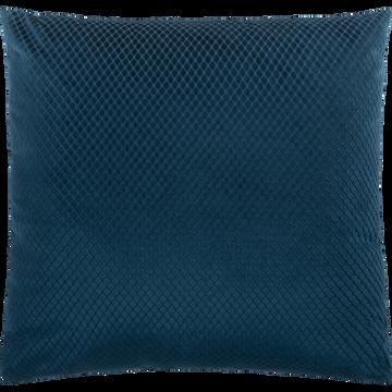 Coussin en velours bleu figuerolles 45x45cm-GASTON
