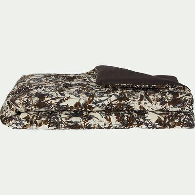 Édredon en lin et coton 100x180cm imprimé marron-EIGARELLA