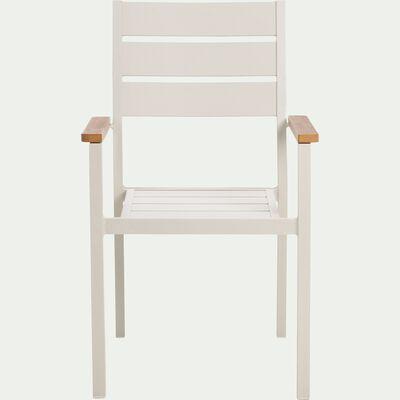 Chaise de jardin avec accoudoirs empilable en aluminium gris borie-ALEP