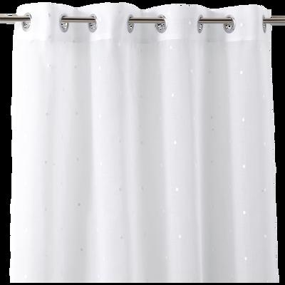 Voilage blanc motifs pois blancs 140x240cm pour enfant-JULIE