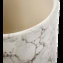 Pot à coton en céramique Blanc nervuré-Hanoï