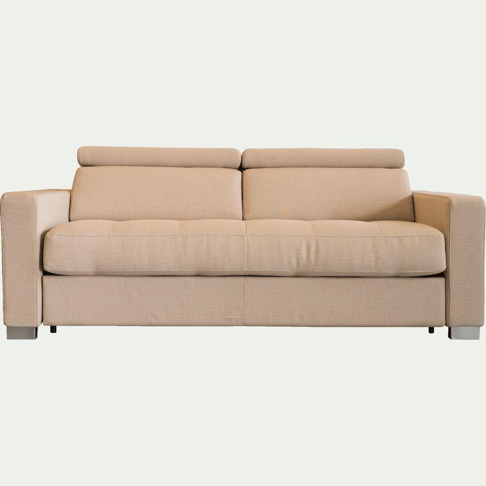 Canapé fixe 3 places en tissu accoudoirs 15cm beige-MAURO