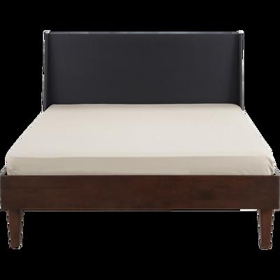 Lit 2 places avec tête de lit en hévéa massif - Plusieurs tailles-TAKEO