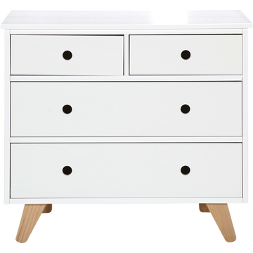 Commode 4 tiroirs blanc en pin massif-TIPI
