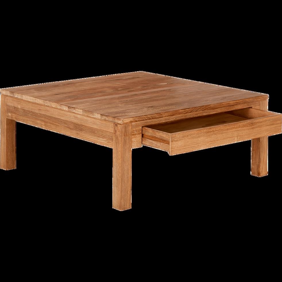EMOTION - Table basse en teck recyclé avec 2 tiroirs 100x100cm