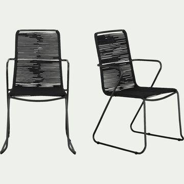 Chaise de jardin en métal et corde avec accoudoirs noir-NORCIA