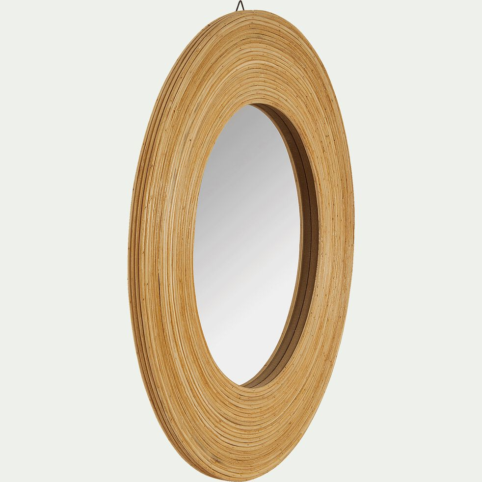 Miroir rond en bois naturel D40,5cm-Aster