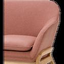 Canapé 3 places fixe en tissu rose-VIK