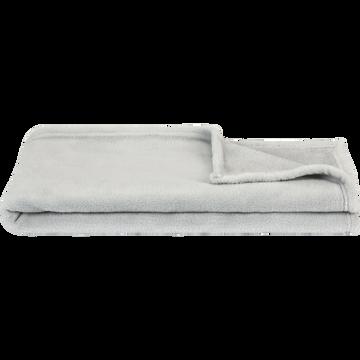 Plaid polaire 100x100 cm - Gris borie-AMELIE